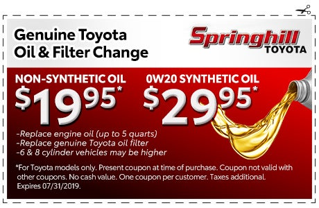 Toyota Synthetic Oil Change Coupon >> Oil And Filter Change Springhill Toyota Specials Mobile Al
